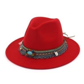 Vrouwen Jazz Caps Bohemen stijl wollen hoeden voor lente zomer Beach(Red)