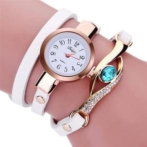 3 stuks oog vorm edelsteen armband horloge voor vrouwen (wit)