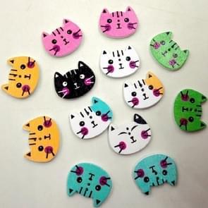 100 PCS cartoon kleur kitten vormknoppen kinderen truien ingericht houten knoppen  willekeurige kleur levering  grootte: 20 x 15 mm