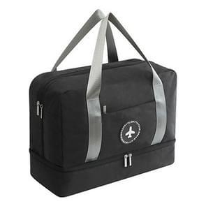 Waterdichte grote capaciteit dubbele laag strand tas draagbare Sporttassen kubus zakken reistassen (zwart)