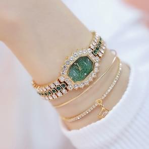 BS beesister FA1581 vrouwen achthoekige wijzerplaat Diamond plated strass armband quartz horloge (gouden shell groene diamant)