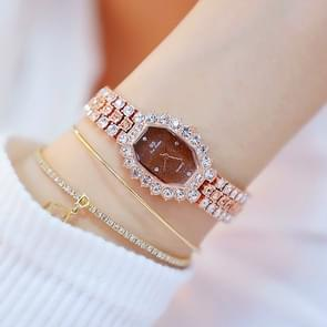 BS beesister FA1581 vrouwen achthoekige wijzerplaat Diamond plated strass armband quartz horloge (Rose Gold koffie Diamond)