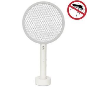 USB oplaadbare elektrische mug swatter grote mesh multifunctionele elektronische muggenmepper (wit)