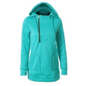 Vrouwen warme trui rits Cap met lange mouwen effen kleur trui  maat: XL (groen)