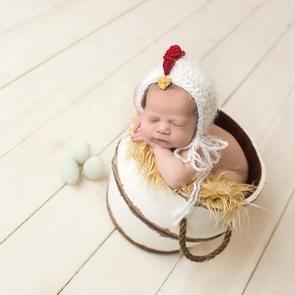 Kinderen fotografie wol GLB baby honderd dagen fotografie modellering van wol hand haak Chick hoed met riem (wit)