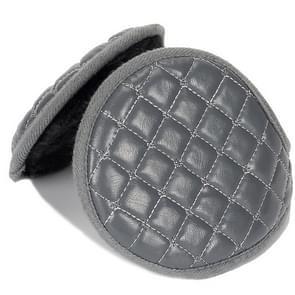 Winter opvouwbare verstelbaar dik warm pluche lederen earmuffs voor mannen (grijs)