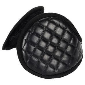 Winter opvouwbare verstelbaar dik warm pluche lederen earmuffs voor mannen (zwart)