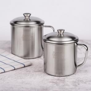 5 stuks extra dik 304 RVS Cup Kinder mond beker met handvat cover huishoudelijke volwassen drinken water beker 11cm met deksel