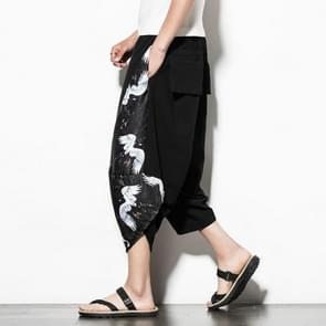 Mannen casual losse groot formaat afgedrukt katoen en linnen bijgesneden broek Wide Leg Broek  grootte: 5XL (zwart wit)