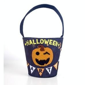 2 stuks Halloween decoratie stof vilt Halloween trick or Treat Candy opbergtas kinderen snoepwinkel mandje (zwarte pompoen modellen)