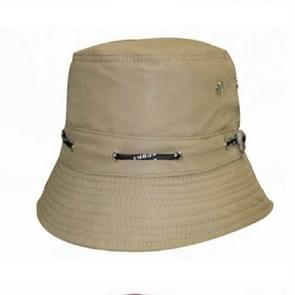 2 stks modieuze verstelbare katoen Bucket Cap schaduw visser hoed met Ontkalven & string (beige)