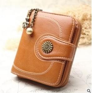 Vintage oil wax leer tri-fold zipper portemonnee clutch wallet (bruin)