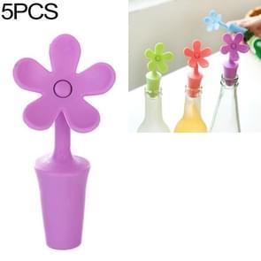 5 PCS Siliconen wijnstopper Bloembierstopper(Paars)