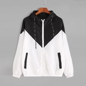 Vrouwen jassen vrouwelijke rits zakken casual lange mouwen jassen herfst Hooded Windbreaker jacket  maat: S (zwart)