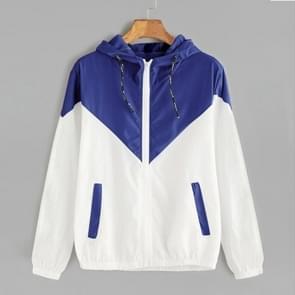 Vrouwen jassen vrouwelijke rits zakken casual lange mouwen jassen herfst Hooded Windbreaker jacket  maat: L (blauw)