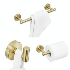 3 in 1 matte 304 RVS handdoek Bar papier handdoek rack haak badkamer accessoires bad douche set  kleur: goud