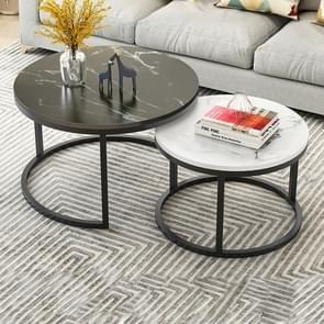 Twee-in-één salontafel smeedijzeren tabel eenvoudige moderne combinatie kleine ronde tafel (zwarte textuur + witte textuur)