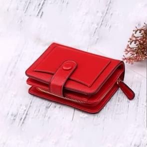 Vrouwen korte Litchi textuur Multi-Card gesp portemonnee (rood)