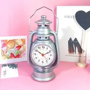 Retro Tafelolie lamp kleine wekker desktop tafel klok woonkamer decoratie levert office craft sieraden (Zilver)