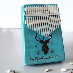 17-tone Kalimba Portable Thumb Piano  Style:Mahonie-Blue (Classic Deer)