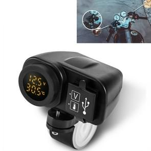 Motorcycle Car Mobile Phone Charger Waterproof Temperature Digital Display Charger met Switch (Geel licht)