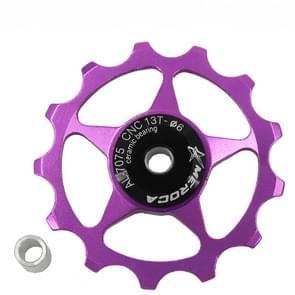 4 PCS MEROCA Metalen lagers Mountainbike Racefiets achter derailleur gids wiel 11T/13T Geleidewiel  Specificatie:13T  Kleur: Paars