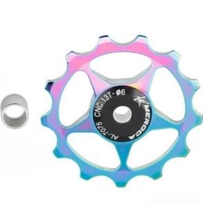 4 PCS MEROCA Metalen lagers Mountainbike Racefiets achter Derailleur Guide Wheel 11T/13T Geleidewiel  Specificatie:13T  Kleur:Electroplating Kleurrijk