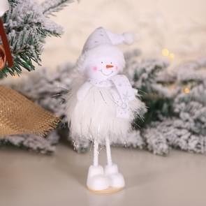 2 PCS kerstversiering Zilveren Zijde Pluche Staande Doll Window Sneeuwpop decoratie (TS41 Sneeuwpop)