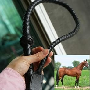 Handgebreide Cowhide Horse Whip Domestic Animal Whip Equestrian Knight Performance Props  Specificatie:100cm (Zwart)