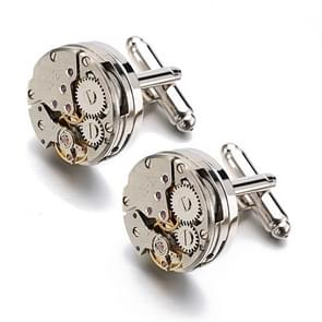 1 paar verkeer Steampunk Gear Watch mechanisme CuffLinks(Silver)