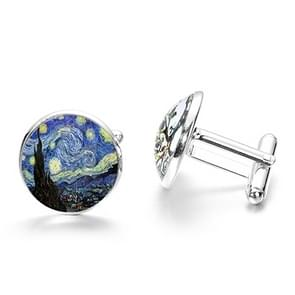 1 pair Fashion Van Gogh Art Painting Series Cufflinks Van Gogh Starry Night Crystal Glass Cabochon Cufflinks(Sliver)