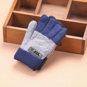 Kinderen warme gebreide handschoenen kinderen winter dikke volle vinger handschoenen (royalblauw met capuchon)