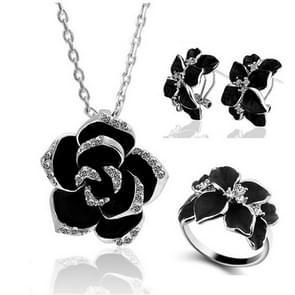 3 STKS/set Fashion Camellia zwart emaille ring oorbellen en ketting sieraden set (zilver)