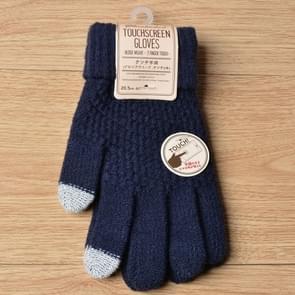 Winter touch screen handschoenen vrouwen mannen warm stretch gebreide wanten imitatie wol dikker volledige vinger handschoenen (Navy Blue)