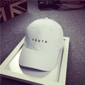 Katoen Hat Mens jeugd brief afdrukken Unisex vrouwen mannen hoeden Baseball Cap Casual Caps(White)