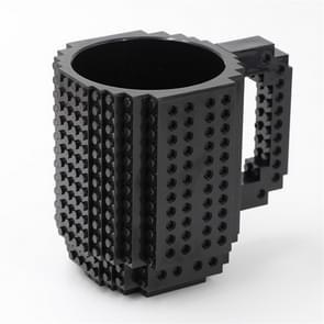Bouwstenen Ontwerp Creatieve Melk Mok Koffie Cup Build-on Baksteen Drinkwater Houder  Waarde:301-400ml (Zwart)