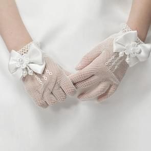 Meisjes Kids kant Faux parel Fishnet handschoenen communie bloemenmeisje huwelijk ceremonie accessoires één Size(White)