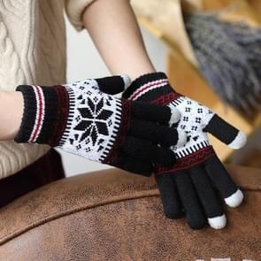 Warme Winter scherm zin handschoenen wol gebreide pols handschoenen Snowflake volledige vinger Unisex handschoenen Mitten(Black)