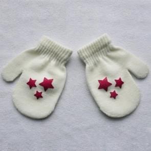Stip ster hart patroon wanten kinderen handschoenen Soft breien warme wanten (het witte hart)