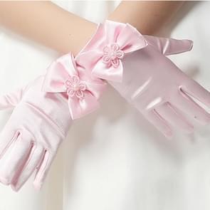 Mooie meisje Etiquette prestaties handschoenen bowknot satijn Handschoenen korte kinderen prinses dans handschoen  Size:S(Pink)