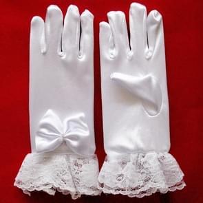 Stijlvolle witte Lace meisjes prestaties handschoenen zoete partij Kids handschoenen kostuum accessoires  grootte: S (voor de leeftijd 4-8)