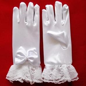 Stijlvolle witte Lace meisjes prestaties handschoenen zoete partij Kids handschoenen kostuum accessoires  maat: M (voor 8-12 jaar)