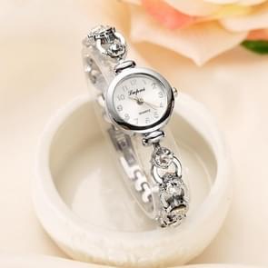 Lvpai P019 retro armband roestvrijstaal Strass horloge voor vrouwen (zilver)