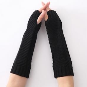 Gebreide wol visgraat textuur warme manchetten fingerless arm mouwen(Zwart)