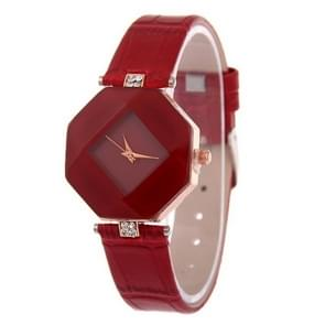 Gem Cut Geometry Crystal Leather Quartz Wristwatch Fashion Watch for Ladies(Red)