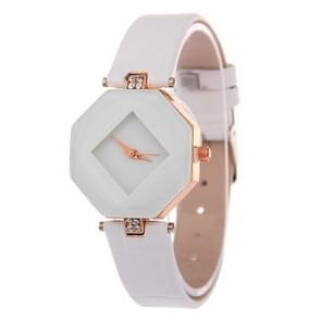 Gem cut geometrie Crystal Leather quartz horloge mode horloge voor dames (wit)