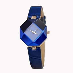 Gem cut geometrie Crystal Leather quartz horloge mode horloge voor dames (blauw)