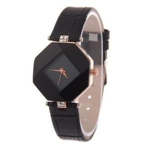 Gem cut geometrie Crystal Leather quartz horloge mode horloge voor dames (zwart)