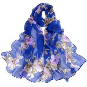 Wild perzik bloem patroon zonnebrandcrème chiffon grote sjaal lichte dunne stijl zijden sjaal-omslagdoek (Sapphire)
