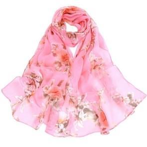 Wild perzik bloem patroon zonnebrandcrème chiffon grote sjaal lichte dunne stijl zijden sjaal-omslagdoek (roze)